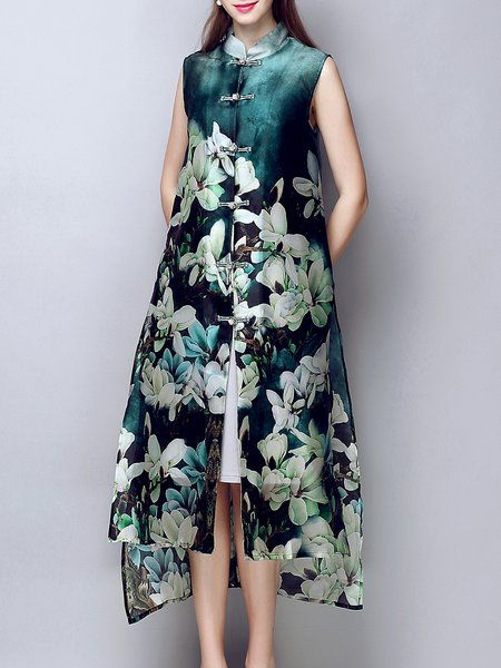Multicolor Printed Silk Crew Neck Sleeveless Coat
