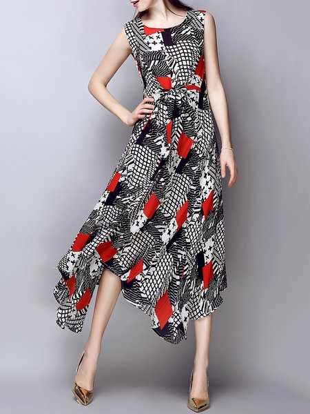 Multicolor Asymmetrical Silk-blend Casual Geometric Midi Dress
