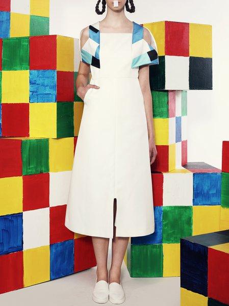 Simple Square Neck Polyester Short Sleeve Midi Dress