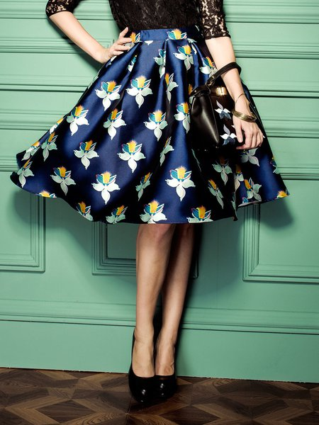 Floral-print Pleated Midi Skirt