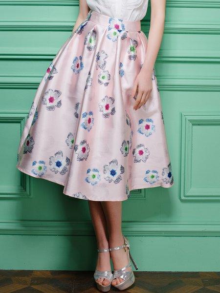 Polyester Floral-print Big Hem Midi Skirt