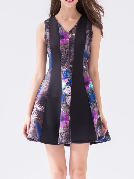 Purple Sweet V Neck Printed Floral Mini Dress