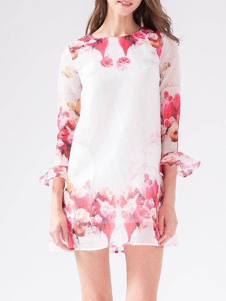 Girly 3/4 Sleeve H-line Ruffled Floral Mini Dress