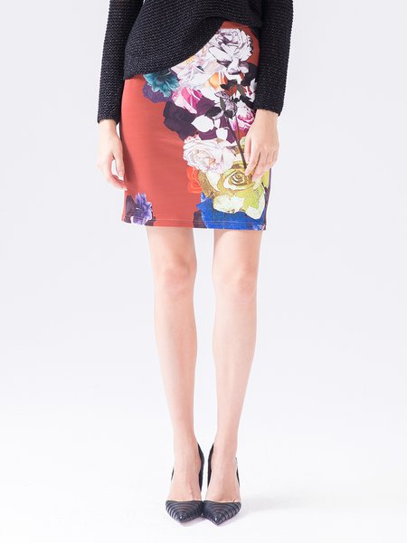 Red Work Polyester Floral Mini Skirt