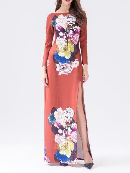 Orange Long Sleeve Polyester Maxi Dress