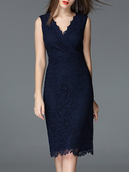 Lace Pierced Sleeveless Elegant Midi Dress