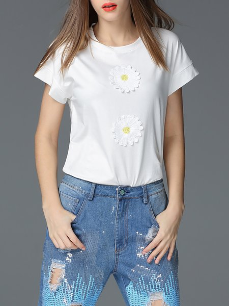 White Floral Appliqued Casual Cotton-blend T-Shirt
