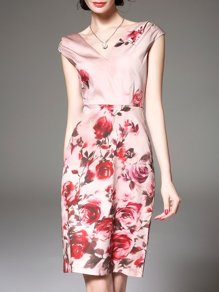 Pink Embroidered Short Sleeve Cotton-blend Sheath Midi Dress