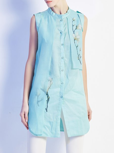 Linen Sleeveless Casual Printed Stand Collar Tunic
