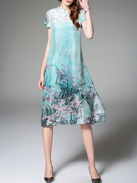 Silk-blend Vintage Short Sleeve Two Piece Midi Dress