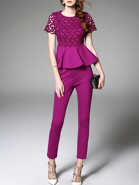 Purple Two Piece Pierced Work Jumpsuit