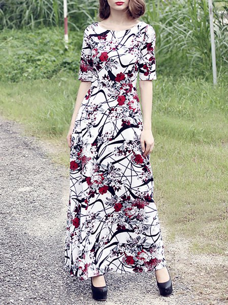 Vintage Half Sleeve Polyester Maxi Dress