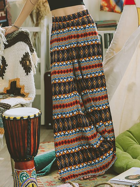 Multicolor Beach Tribal Wide Leg Pants