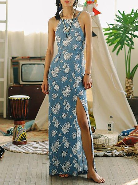 Blue Beach Chiffon Floral Maxi Dress