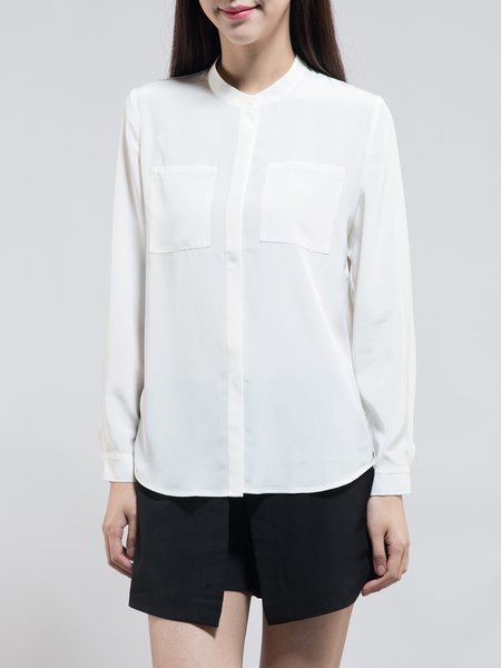 Pockets Long Sleeve Polyester Plain Work Blouse
