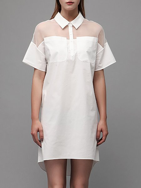 White H-line Shirt Collar Plain Casual Mini Dress