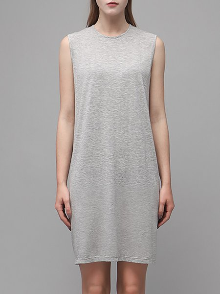 Gray Plain Sleeveless Cotton-blend Crew Neck Mini Dress