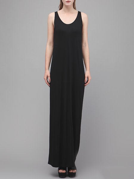 Black Casual Cotton-blend Maxi Dress