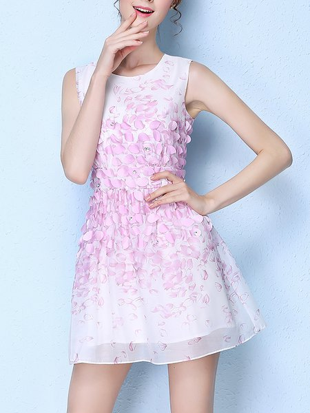 Pink Sweet Appliqued Polyester Mini Dress