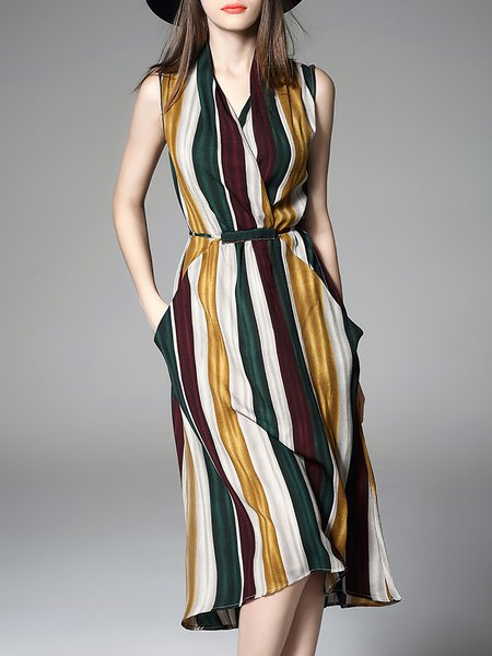 Striped V Neck Sleeveless Silk-blend A-line Wrap Dress