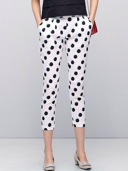 Casual Printed Polka Dots Skinny Leg Pants