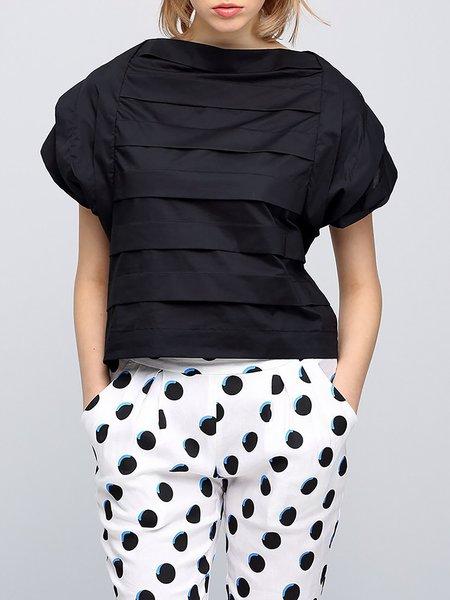 Black Plain Cotton-blend Bateau/boat Neck Casual T-Shirt