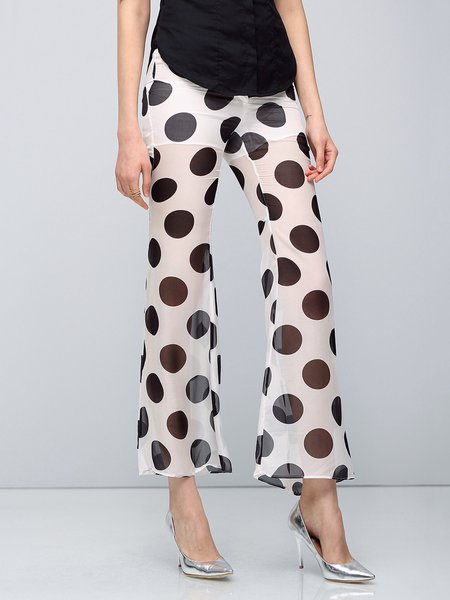 White Printed Casual Flared Pants