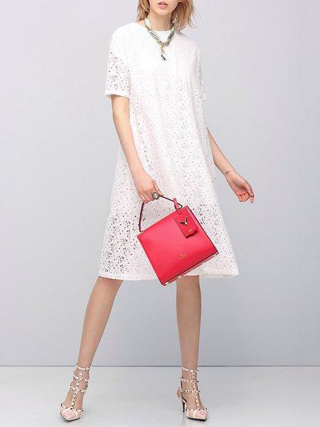 Cotton-blend Short Sleeve Casual Plain Pierced Mini Dress