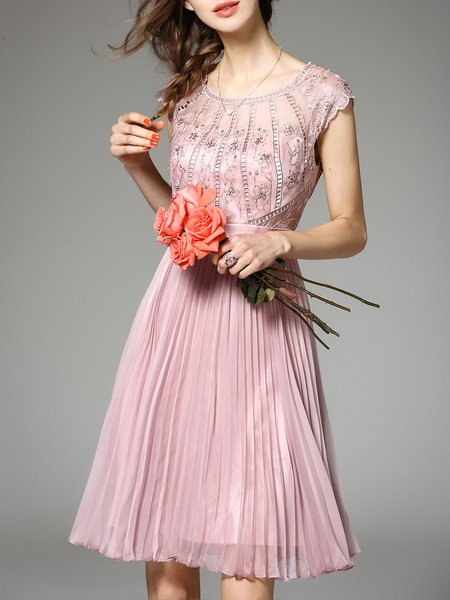 Pink Plain Crew Neck Elegant Pleated Midi Dress