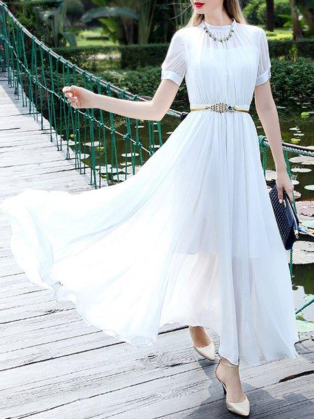 White Plain Simple Chiffon Paneled Maxi Dress