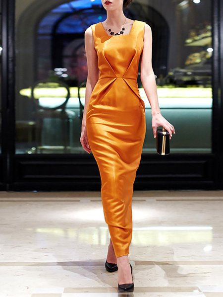 Square Neck Sleeveless Evening Maxi Dress