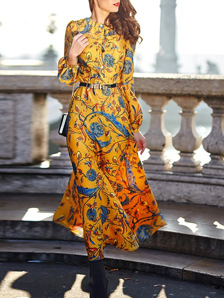 Floral-print Long Sleeve Casual Maxi Dress