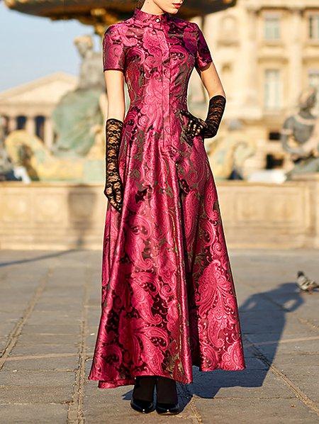 Burgundy Floral Casual Maxi Dress