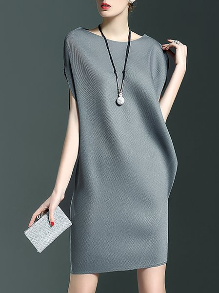 Gray Bateau/boat Neck Ribbed Sleeveless Plain Mini Dress