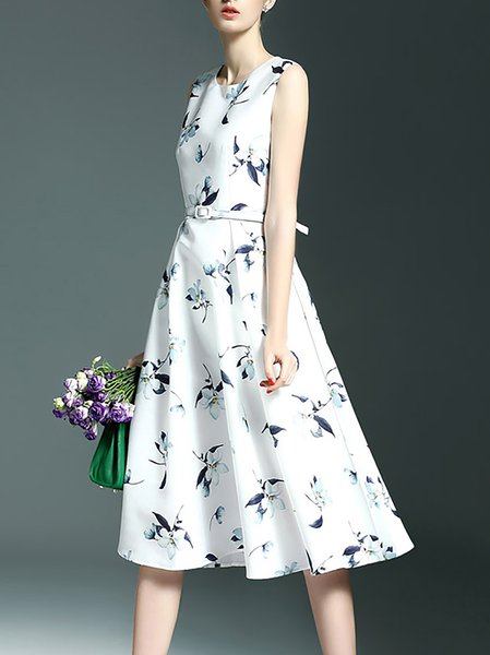 White Casual Floral Polyester Floral-print Midi Dress
