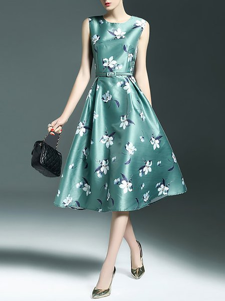 Floral-print Floral Crew Neck Sleeveless Casual Midi Dress