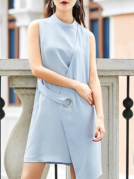 Blue H-line Sleeveless Crew Neck Mini Dress