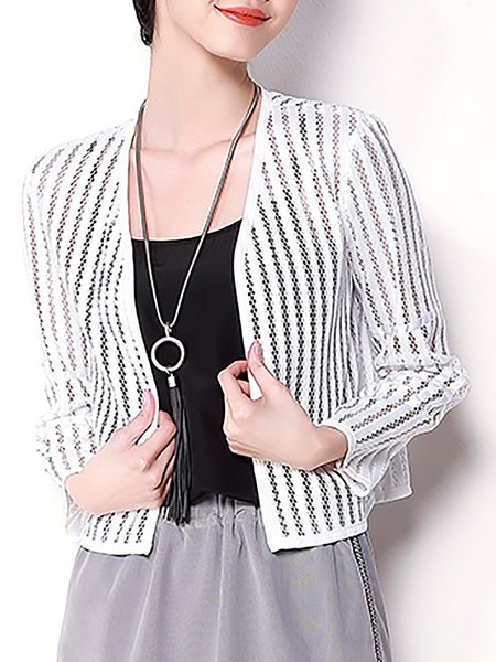 Pierced Casual Polyester Long Sleeve V Neck Cropped Jacket
