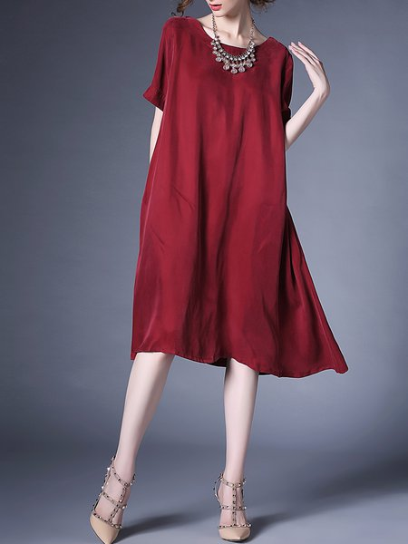 Wine Red Crew Neck Plain Simple Shift Midi Dress