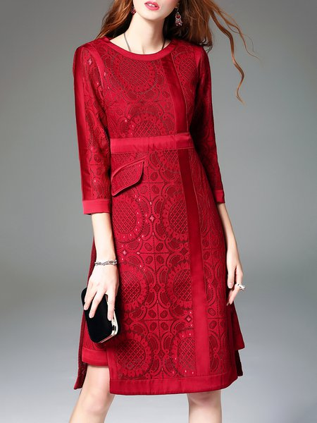 Wine Red A-line Vintage Floral 3/4 Sleeve Pierced Midi Dress