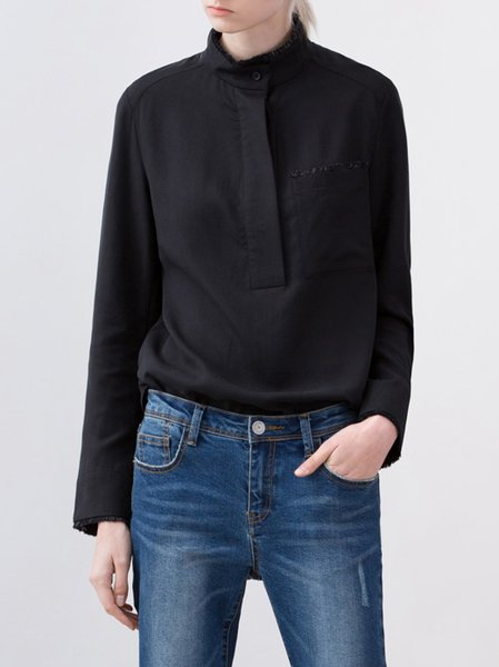 Black Turtleneck H-line Simple Blouse