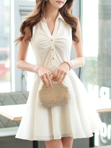 White Polyester A-line Shirt Collar Sweet Shirt Dress