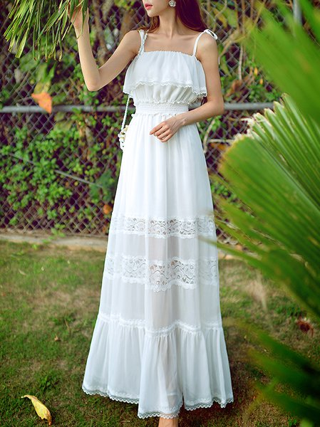 White Shift Spaghetti Maxi Dress
