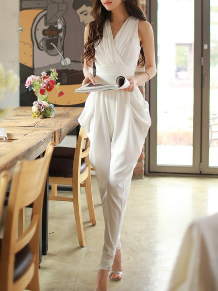 White Gathered Simple Spandex Plain Jumpsuit