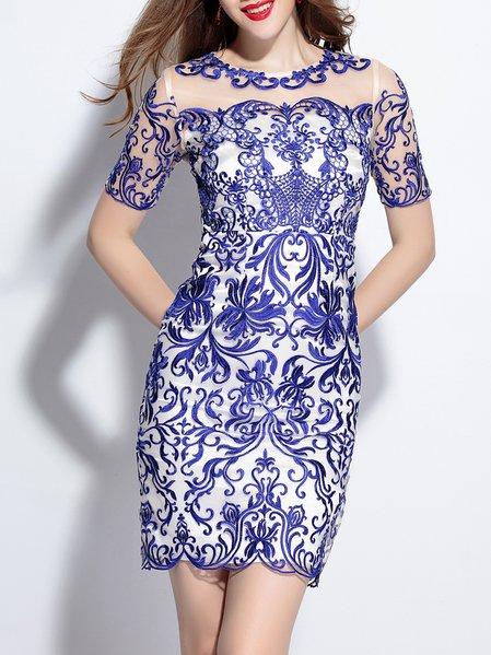 Mesh Paneled Floral Pattern Mini Dress