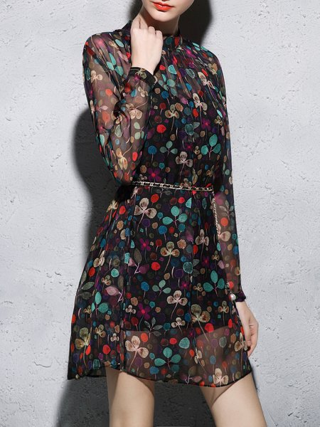 Long Sleeve Vintage Two Piece Polyester Floral Mini Dress