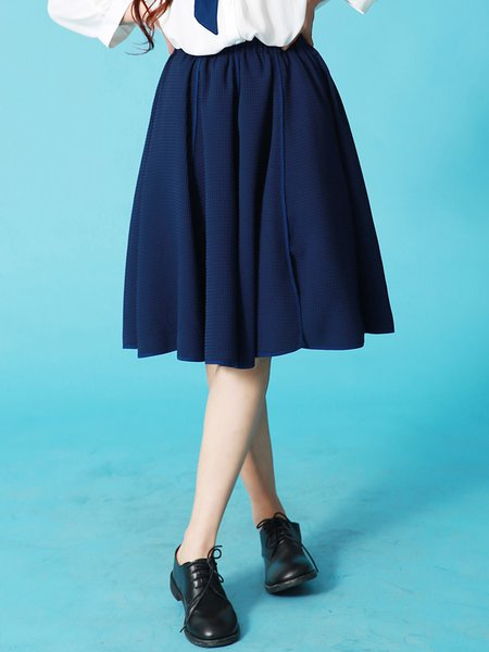 Dark Blue Casual Slit Plain Midi Skirt