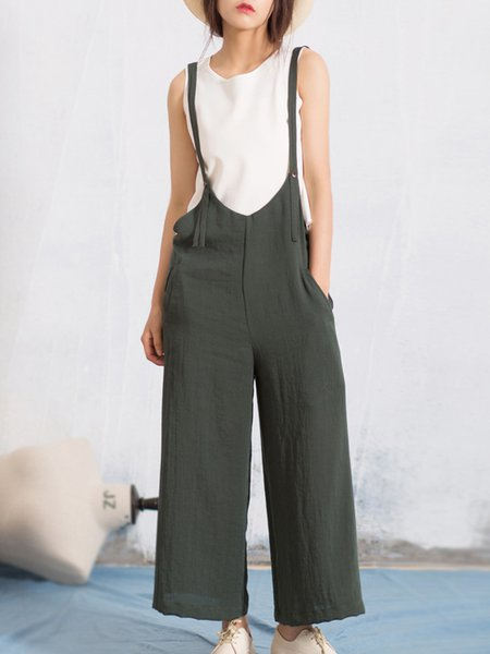 Green Linen Plain Casual Overall