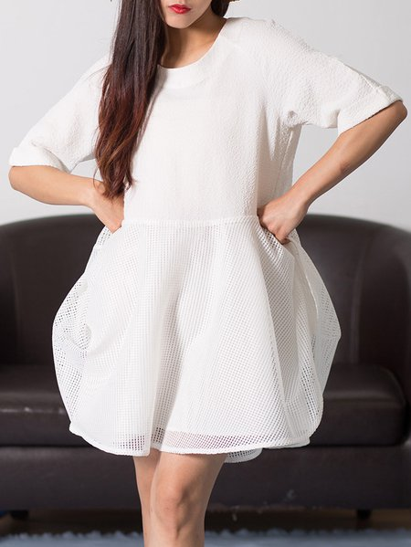 White Plain A-line Casual Spandex Midi Dress