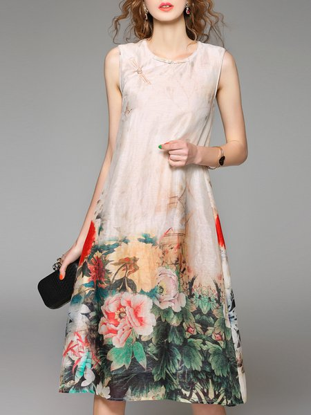 Sleeveless Vintage Silk-blend Midi Dress